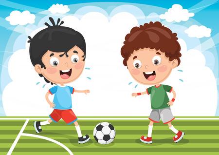 Illustration of two boys playing football outside