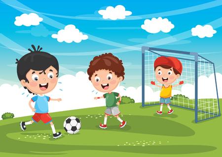Vector Illustratie Van Kid Voetballen Stock Illustratie