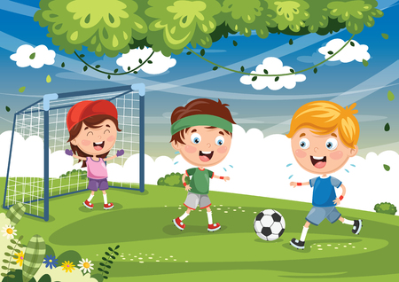 Illustration of children playing football