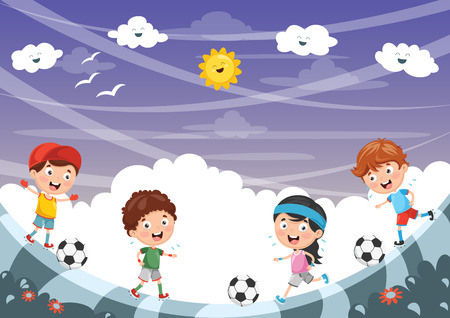 A Vector Illustration Of Kid Playing Football Vectores