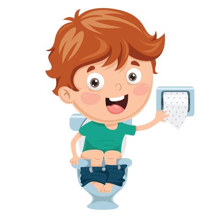 Illustratie af een jongenszitting op een toilet