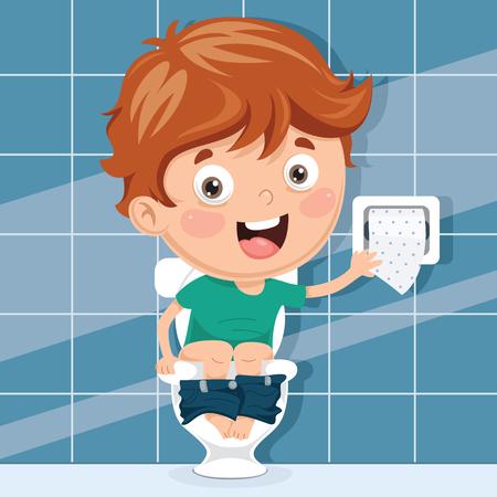 Illustration af a boy sitting on a toilet