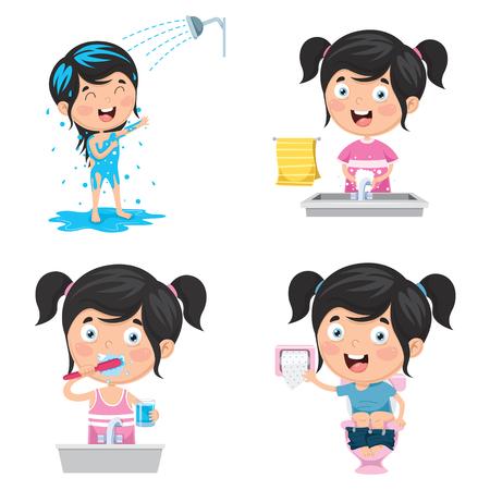 Illustration vectorielle de l'enfant se baignant, se brosser les dents, se laver les mains après les toilettes Vecteurs