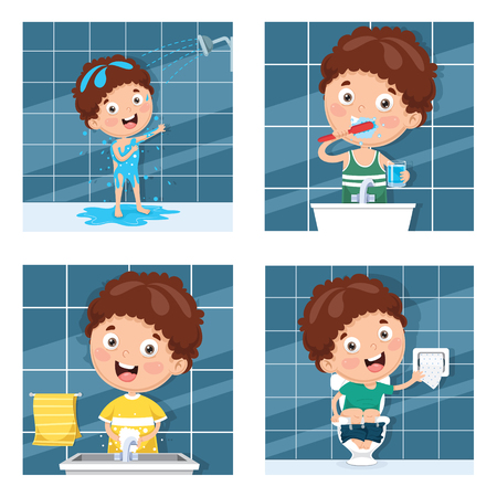 Vector Illustration Of Kid Bathing, Brushing Teeth, Washing Hands After Toilet
