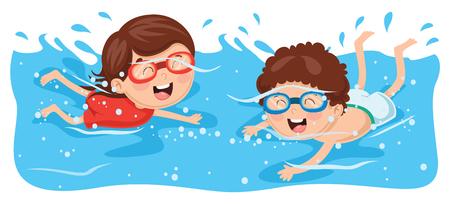 Ilustracja wektorowa pływania Kid