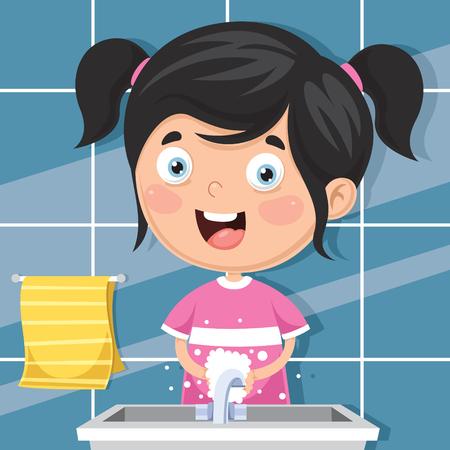Vector Illustration Of Kid Washing Hands