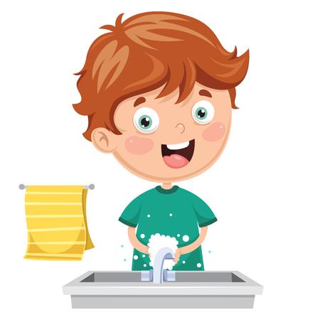 Vector Illustration Of Kid Washing Hands Stock Vector - 97422645