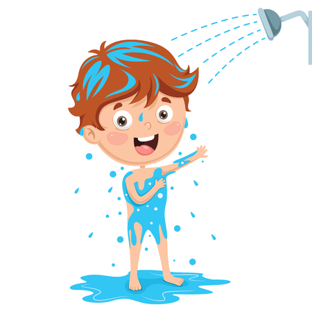 Vector Illustration Of Kid Bathing