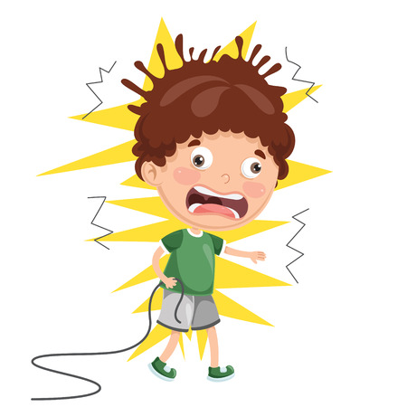 Vector Illustration Of Kid With Electric Shock