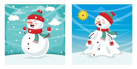 Vector Illustration Of Snowman set