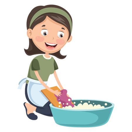 Vector Illustration Of Woman Washing Clothes 일러스트