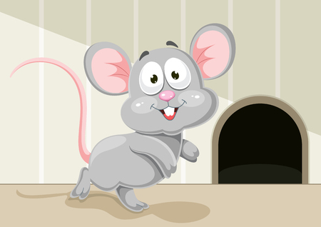 Vector Illustration Of Cartoon Mouse with hole. Stock Illustratie