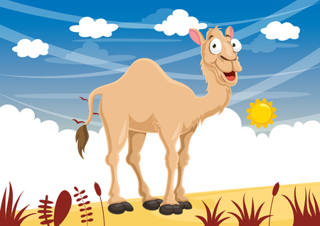 Vector Illustration Of Cartoon Camel with sun.