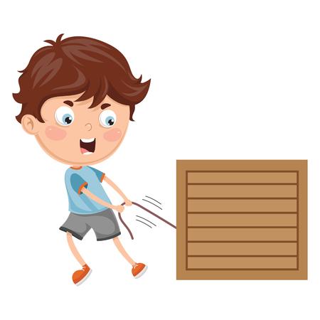 Vector Illustration Of Kid Pulling