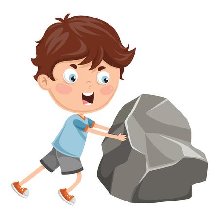 Vector Illustration Of Kid Pushing Rock