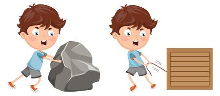 Ilustración de vector de niño empujando y tirando