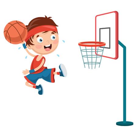 バスケットボールをする子供のベクトルイラスト