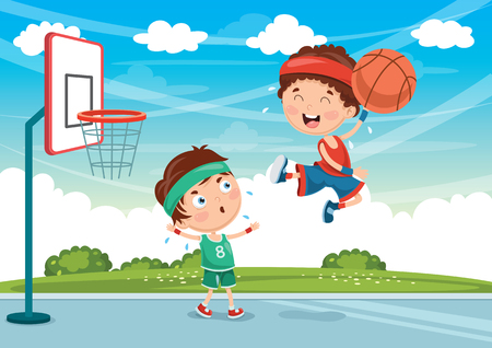 Vector Illustration Of Kids Playing Basketball Çizim
