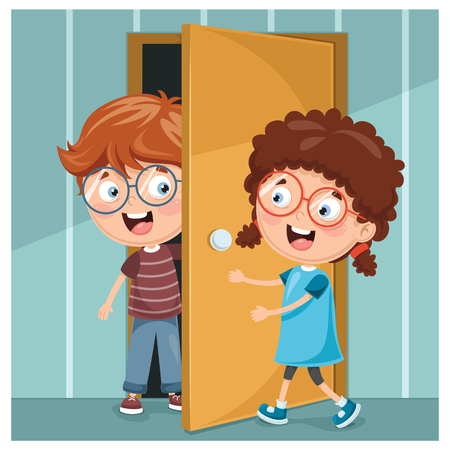 Vector Illustration Of Kid Opening The Door Фото со стока - 97840386