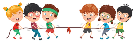 Vector Illustration Of Kids Playing Pulling Rope