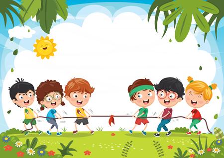 Vektor-Illustration von den Kindern, die Seil ziehend spielen Vektorgrafik