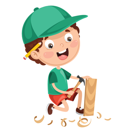 Vector Illustration Of Kid Working