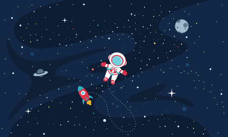 Vector Illustration Of astronaut on space background.