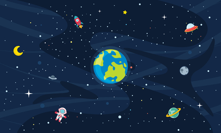 Vector Illustration Of Space exploration