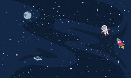 Vector Illustration Of Space exploration Illusztráció