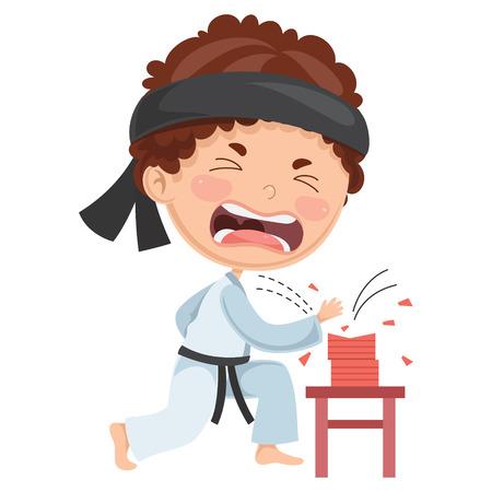 Vector Illustration Of Kid Making Karate Vettoriali