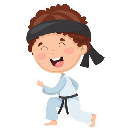 Vector Illustration Of Kid Making Karate 矢量图像
