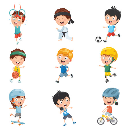 Vector Illustration Of Kids Making Sport Reklamní fotografie - 97751722