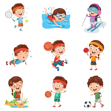Vector Illustration Of Kids Making Sport