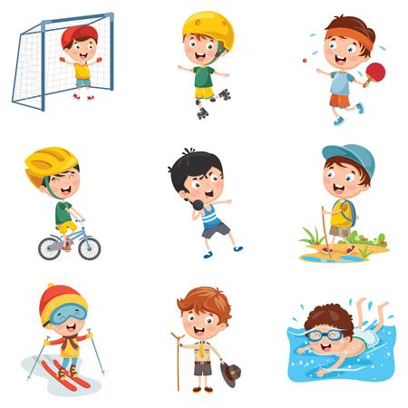 Vektor-Illustration von den Kindern, die Sport machen Vektorgrafik