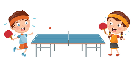 Vector Illustration Of Kids Playing Table Tennis Иллюстрация