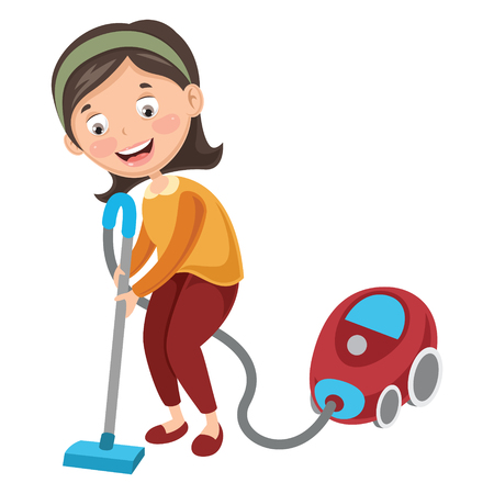 Vector Illustration Of Woman Doing Housework