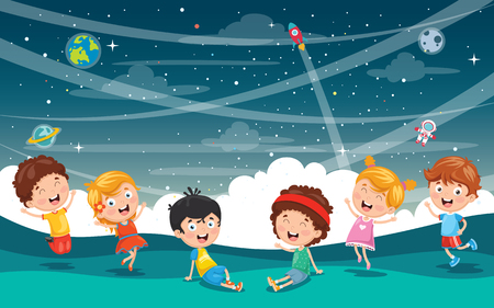 Vector Illustration Of Space with kids playing. Illustration