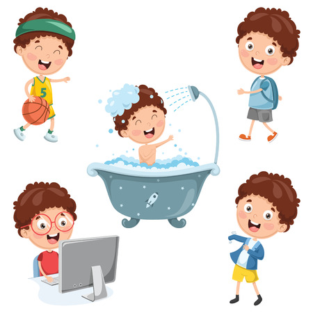 Vector Illustration Of Kids Daily Routine Activities