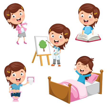 A Vector Illustration Of Kids Daily Routine Activities