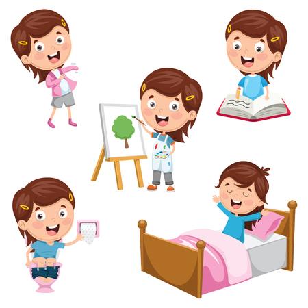 Une illustration vectorielle des activités quotidiennes des enfants Vecteurs