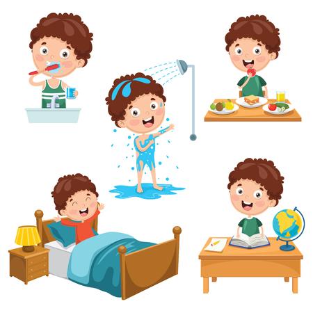 Ilustracja wektorowa codziennych rutynowych czynności dla dzieci