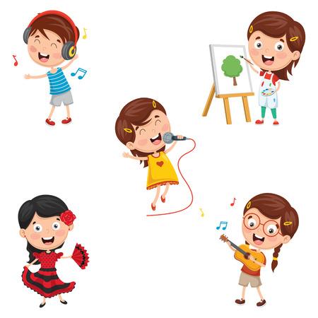 Une illustration vectorielle des enfants faisant des performances artistiques