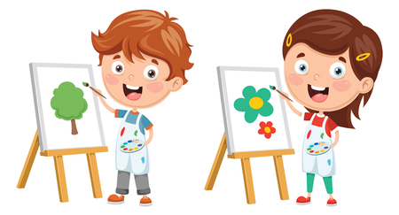 Vector Illustration Of Kids Making Art Performance