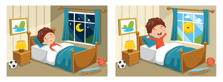 A Vector Illustration Of Kid Sleeping And Waking Up Vettoriali