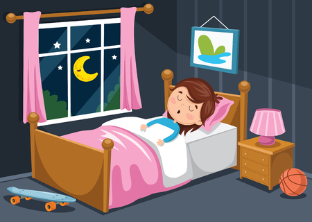 A Vector Illustration Of Kid Sleeping