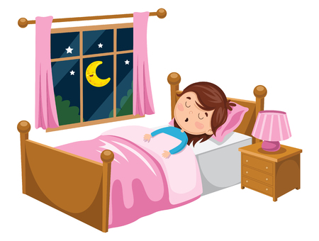 A Vector Illustration Of Kid Sleeping