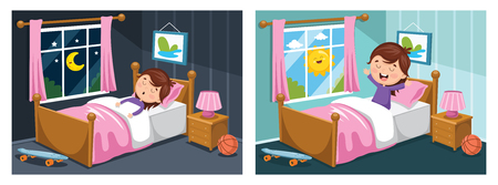 A Vector Illustration Of Kid Sleeping And Waking Up Ilustração