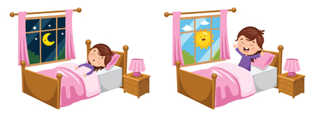 A Vector Illustration Of Kid Sleeping And Waking Up 矢量图像