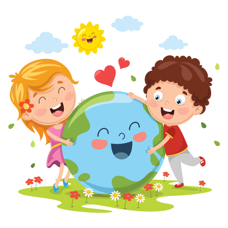 Vector Illustration Of Earth Day with children hugging earth.