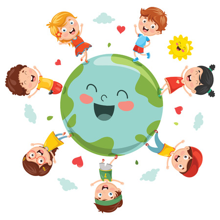 Vector Illustration Of Earth Day, planet earth with kids design